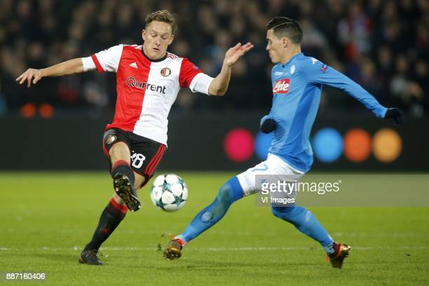 Jens Toornstra of Feyenoord Jose Callejon of SSC Napoli during the UEFA Champions League group F match between Feyenoord Rotterdam and SSC Napoli at...