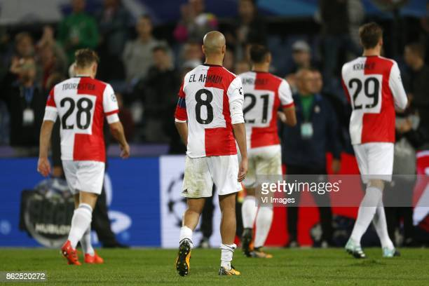 Jens Toornstra of Feyenoord Karim El Ahmadi of Feyenoord Sofyan Amrabat of Feyenoord Michiel Kramer of Feyenoord during the UEFA Champions League...