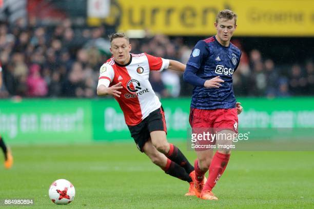 Jens Toornstra of Feyenoord Matthijs de Ligt of Ajax during the Dutch Eredivisie match between Feyenoord v Ajax at the Feyenoord Stadium on October...