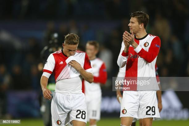 Jens Toornstra of Feyenoord Michiel Kramer of Feyenoord during the UEFA Champions League group F match between Feyenoord Rotterdam and Shakhtar...