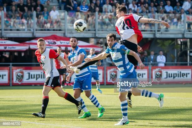 Jens Toornstra of Feyenoord Ouasim Bouy of PEC Zwolle Dirk Marcellis of PEC Zwolle Renato Tapia of Feyenoord Michiel Kramer of Feyenoordduring the...