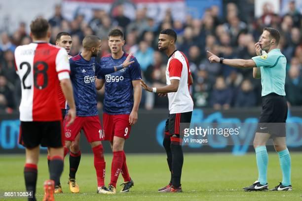 Jens Toornstra of Feyenoord Sofyan Amrabat of Feyenoord Hakim Ziyech of Ajax Klaas Jan Huntelaar of Ajax Jeremiah St Juste of Feyenoord referee Danny...
