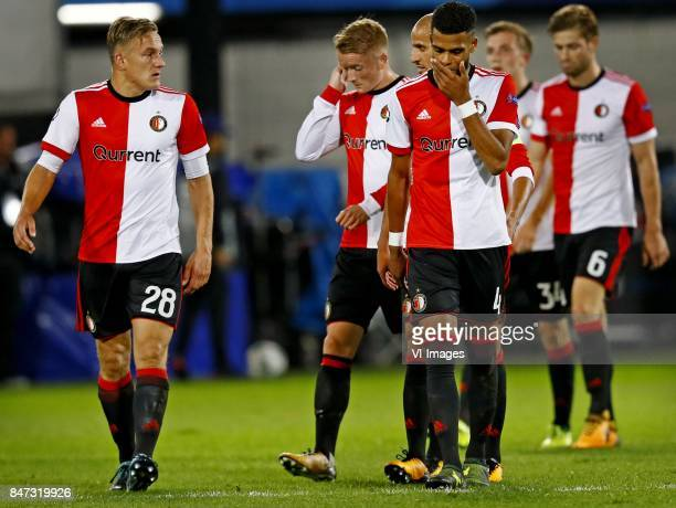 Jens Toornstra Sam Larsson Jeremiah st Juste of Feyenoord after 04 defeat against Manchester City during the UEFA Champions League group F match...