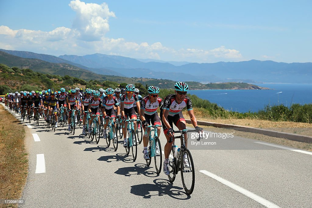 Jens Voigt of Germany and Radioshack Leopard leads the peloton along the Corsican coast during stage three of the 2013 Tour de France, a 145.5KM road stage from Ajaccio to Calvi, on July 1, 2013 in Calvi, France.
