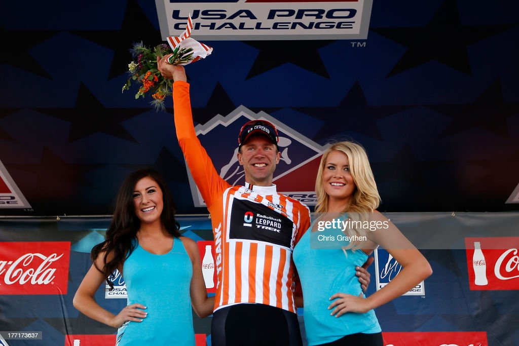 Jens Voigt of Germany and RadioShack Leopard Trek poses for a photo on the podium in the orange 1st Bank Most Gourageous Rider jersey after stage three of the USA Pro Cycling Challenge on August 21, 2013 in Steamboat Springs, Colorado.