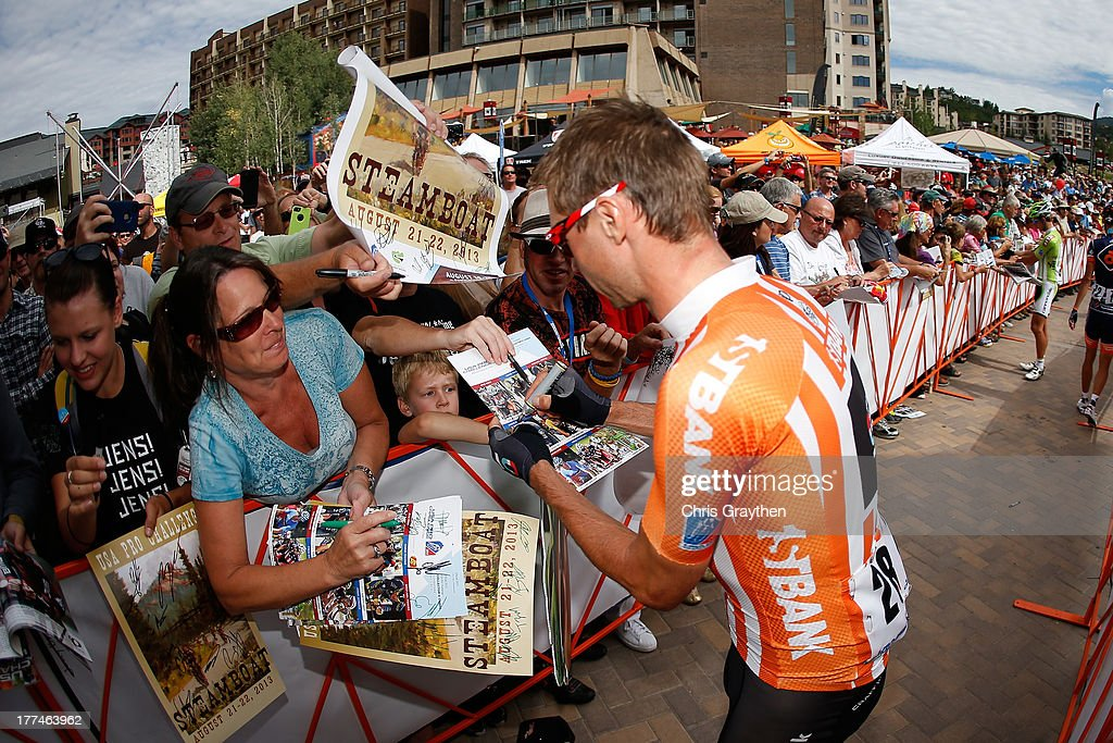 <a gi-track='captionPersonalityLinkClicked' href=/galleries/search?phrase=Jens+Voigt&family=editorial&specificpeople=224836 ng-click='$event.stopPropagation()'>Jens Voigt</a> of Germany and RadioShack Leopard Trek signs in before stage four of the 2013 USA Pro Cycling Challenge from Steamboat Springs to Beaver Creek on August 22, 2013 in Steamboat Springs, Colorado.