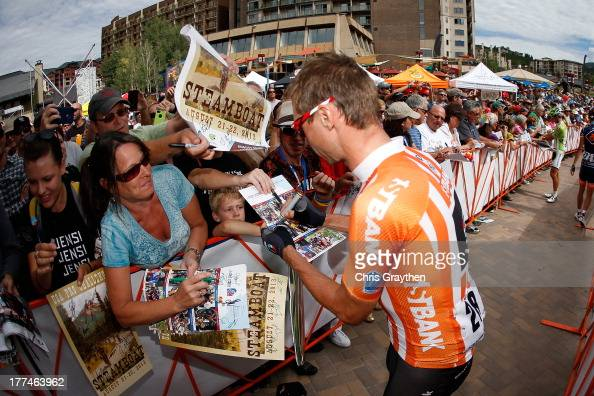 Jens Voigt of Germany and RadioShack Leopard Trek signs in before stage four of the 2013 USA Pro Cycling Challenge from Steamboat Springs to Beaver...