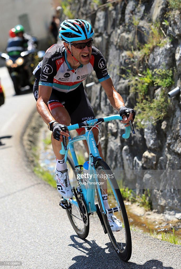 Jens Voigt of Germany and Team Radioshack Leopard attacks in a lone breakaway during stage twenty of the 2013 Tour de France, a 125KM road stage from Annecy to Annecy-Semnoz, on July 20, 2013 in Annecy, France.