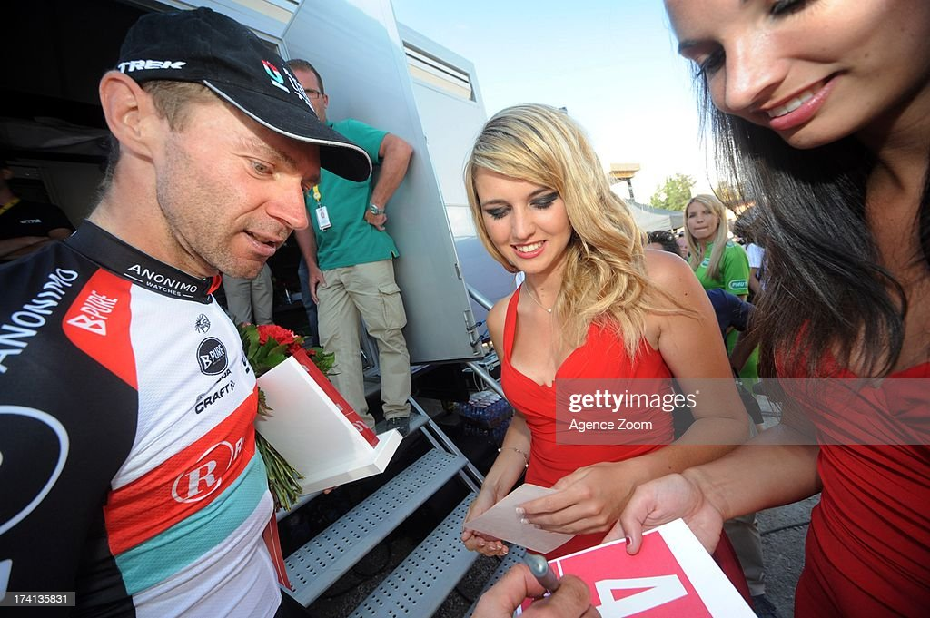 Jens Voigt of Germany and Team Radioshack Leopard signs autographs after the finish of stage twenty of the 2013 Tour de France, a 125KM road stage from Annecy to Annecy-Semnoz, on July 20, 2013 in Annecy, France.