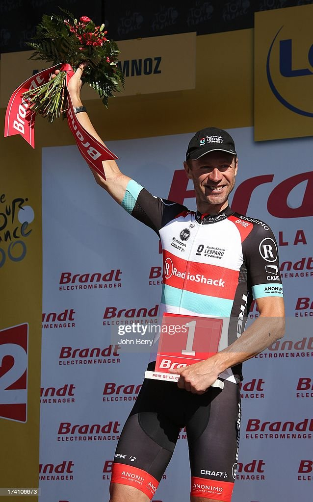 Jens Voigt of Germany and Team Radioshack Leopard wins the most combative rider trophy after stage twenty of the 2013 Tour de France, a 125KM road stage from Annecy to Annecy-Semnoz, on July 20, 2013 in Annecy, France.