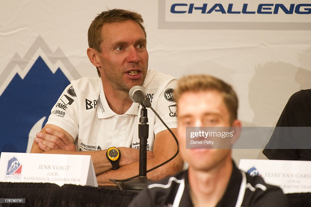Jens Voigt of Germany racing for Team RadioShack-Leopard speaks during a pre-race press conference for the USA Pro Challenge at the Aspen Institute on August 18, 2013, in Aspen, Colorado.