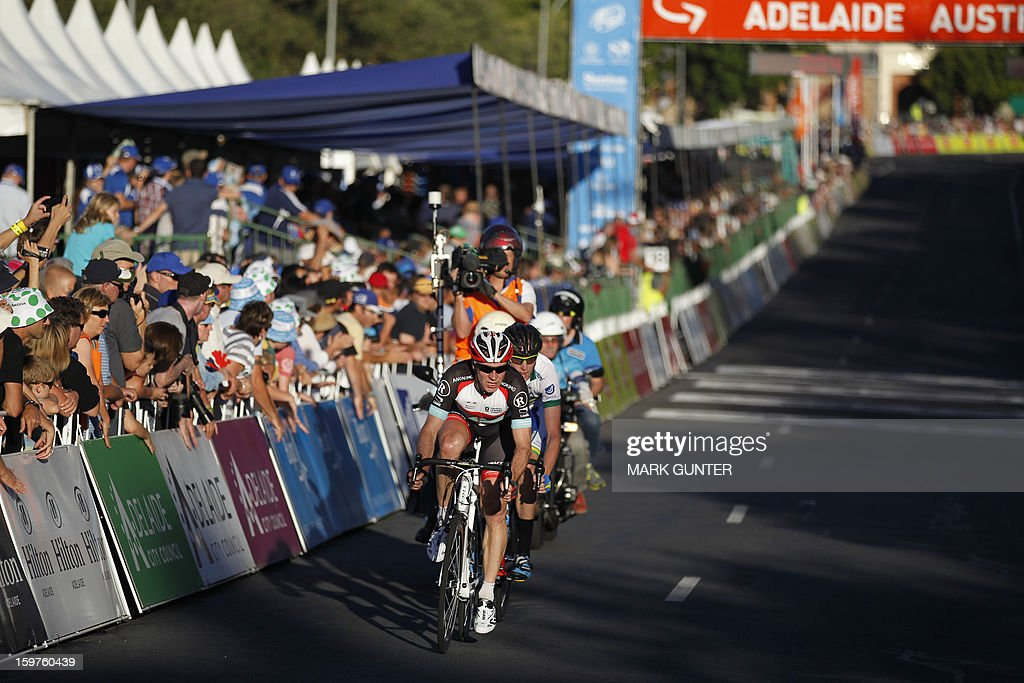 Jens Voigt of Germany rides with Zakkary Dempster of Australia during the 51km People's Choice Classic prior to the Tour Down Under in Adelaide on January 20, 2013. The six-stage Tour Down Under takes place from January 20 to 27. AFP PHOTO / Mark Gunter USE