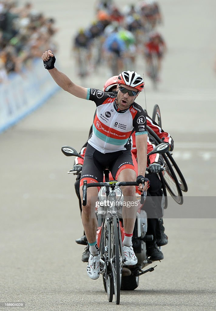 Jens Voigt of Germany riding for Radio Shack Leopard Trek celebrates his win of Stage 5 of the Tour of California on May 16, 2013 in Avila Beach, California.
