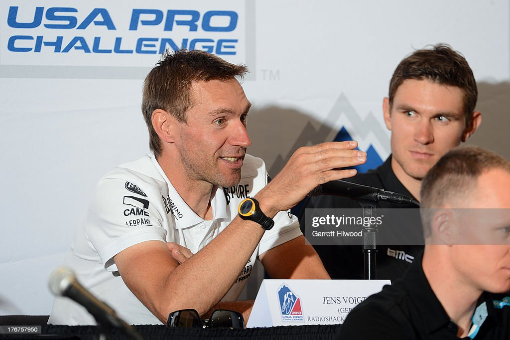 <a gi-track='captionPersonalityLinkClicked' href=/galleries/search?phrase=Jens+Voigt&family=editorial&specificpeople=224836 ng-click='$event.stopPropagation()'>Jens Voigt</a> of Germany riding for Radioshack Leopard Trek answers a question from the media during the Kick-Off Press Conference prior to the start of the USA Pro Challenge at the Paepcke Auditorium on August 18, 2013 in Aspen, Colorado. Copyright 2013