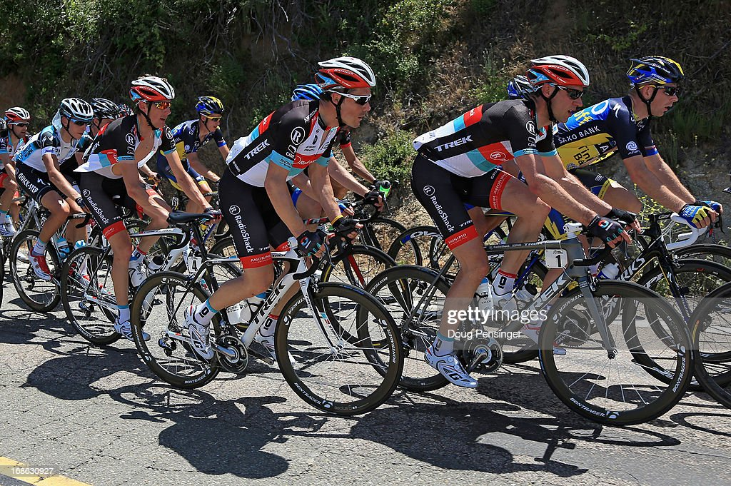 Jens Voigt of Germany riding for Radioshack Leopard Trek leads the way for teammates Markel Irizar of Spain and Andy Schleck of Luxembourg riding for Radioshack Leopard Trek as they ride in the peloton during Stage One of the 2013 Amgen Tour of California from Escondido to Escondido on May 12, 2013 in San Diego County, California.