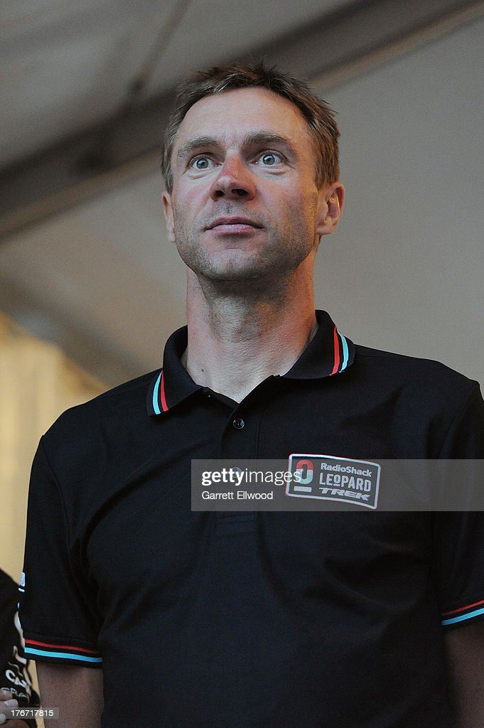 Jens Voigt of Germany riding for Radioshack Leopard Trek stands on stage during the team presentation ceremony prior to the start of the USA Pro Challenge on August 17, 2013 in Snowmass Village, Colorado.