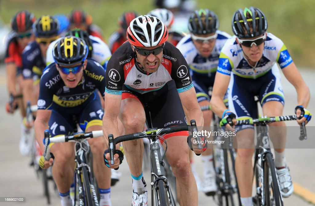 <a gi-track='captionPersonalityLinkClicked' href=/galleries/search?phrase=Jens+Voigt&family=editorial&specificpeople=224836 ng-click='$event.stopPropagation()'>Jens Voigt</a> of Germany riding for Radioshack Leopard Trek works at the front of the breakaway just prior to attacking and soloing to victory in Stage Five of the 2013 Amgen Tour of California from Santa Barbara to Avila Beach on May 16, 2013 in Avila Beach, California.