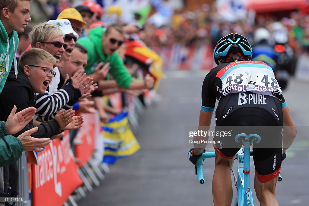 Jens Voigt of Germany riding for Radioshack-Leopard is encouraged by fans as he climbs l'Alpe d'Huez during stage eighteen of the 2013 Tour de France, a 172.5KM road stage from Gap to l'Alpe d'Huez, on July 18, 2013 in Alpe d'Huez, France.