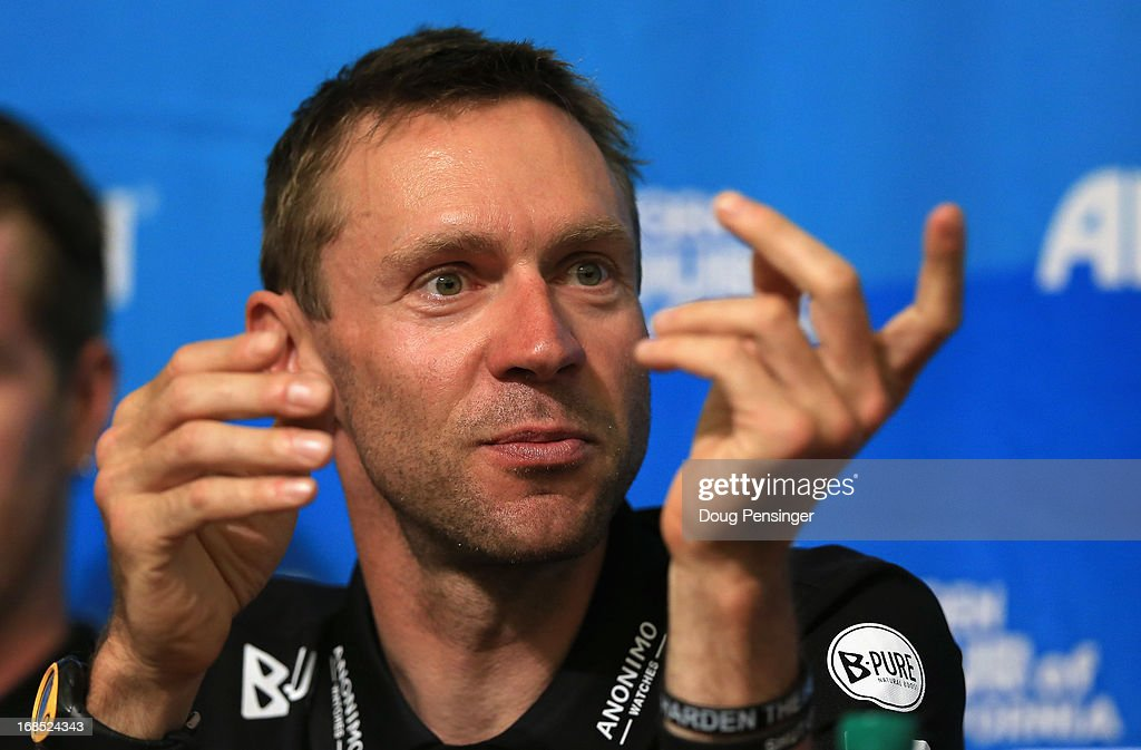 Jens Voigt of Germany riding for Radioshack-Leopard-Trek addresses the media during the kick off press conference for the 2013 AMGEN Tour of California on May 10, 2013 in Escondido, United States.
