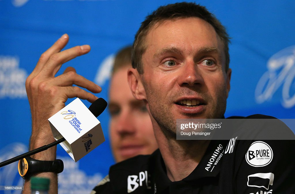 <a gi-track='captionPersonalityLinkClicked' href=/galleries/search?phrase=Jens+Voigt&family=editorial&specificpeople=224836 ng-click='$event.stopPropagation()'>Jens Voigt</a> of Germany riding for Radioshack-Leopard-Trek addresses the media during the kick off press conference for the 2013 AMGEN Tour of California on May 10, 2013 in Escondido, United States.