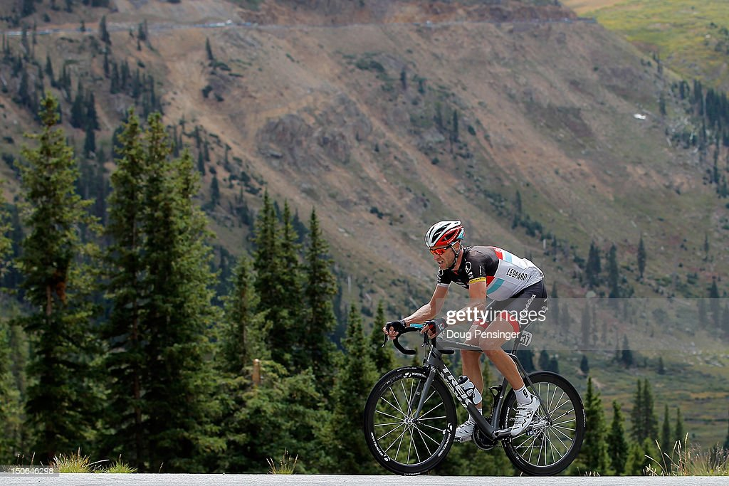 Jens Voigt of Germany riding for Radioshack-Nissan begins the climb of Independence Pass as he launched a solo attack and rode alone to victory in stage four of the USA Pro Challenge from Aspen to Beaver Creek on August 23, 2012 in Aspen, Colorado.