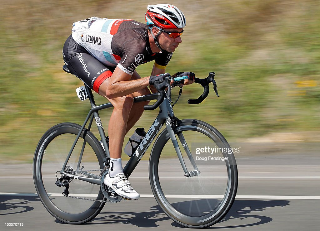 Jens Voigt of Germany riding for Radioshack-Nissan descends the Cerro Summit during stage two of the USA Pro Challenge from Montrose to Crested Butte on August 21, 2012 in Cimarron, Colorado.