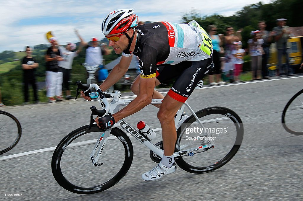 Jens Voigt of Germany riding for Radioshack-Nissan descends the Col du Grand Cucheron in stage twelve of the 2012 Tour de France from Saint-Jean de Maurienne to Annonay on July 13, 2012 in La Rochette, France.