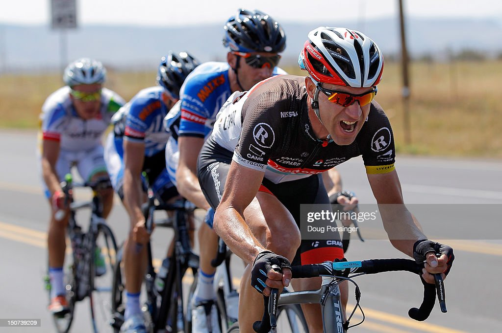 Jens Voigt of Germany riding for Radioshack-Nissan drives the breakaway early in stage six of the USA Pro Challenge from Golden to Boulder on August 25, 2012 in Golden, Colorado.