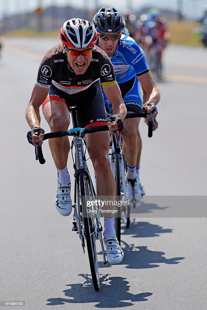 Jens Voigt of Germany riding for Radioshack-Nissan leads Rory Sutherland of Australia riding for United Healthcare in the breakaway during stage six of the USA Pro Challenge from Golden to Boulder on August 25, 2012 in Boulder, Colorado. Sutherland went on to win the stage a Voigt earned the king of the mountains jersey.