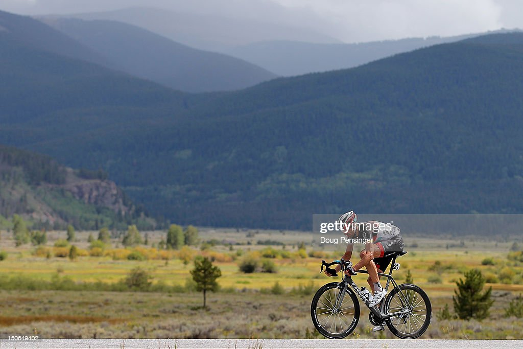 Jens Voigt of Germany riding for Radioshack-Nissan passes by Camp Hale in the Eagle River Valley during as he rode his day long solo attack to victory during stage four of the USA Pro Challenge from Aspen to Beaver Creek on August 23, 2012 in Eagle County, Colorado.