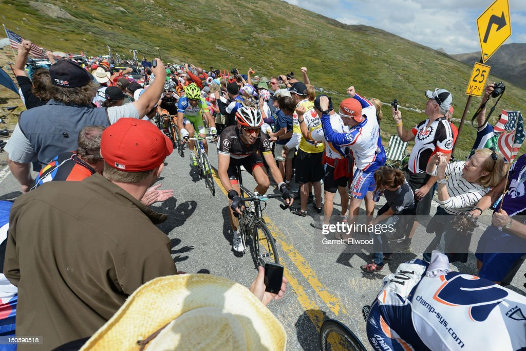 Jens Voigt of Germany riding for RadioShack-Nissan-TREK approaches the summit of Independence Pass during Stage Two of the USA Pro Challenge from Gunnison to Aspen on August 22, 2012 in Independence Pass, Colorado.