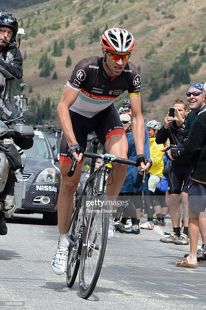 Jens Voigt of Germany riding for RadioShack-Nissan-TREK approaches the summit of Independence Pass during Stage Four of the USA Pro Challenge from Aspen to Beaver Creek on August 23, 2012 in Aspen, Colorado.