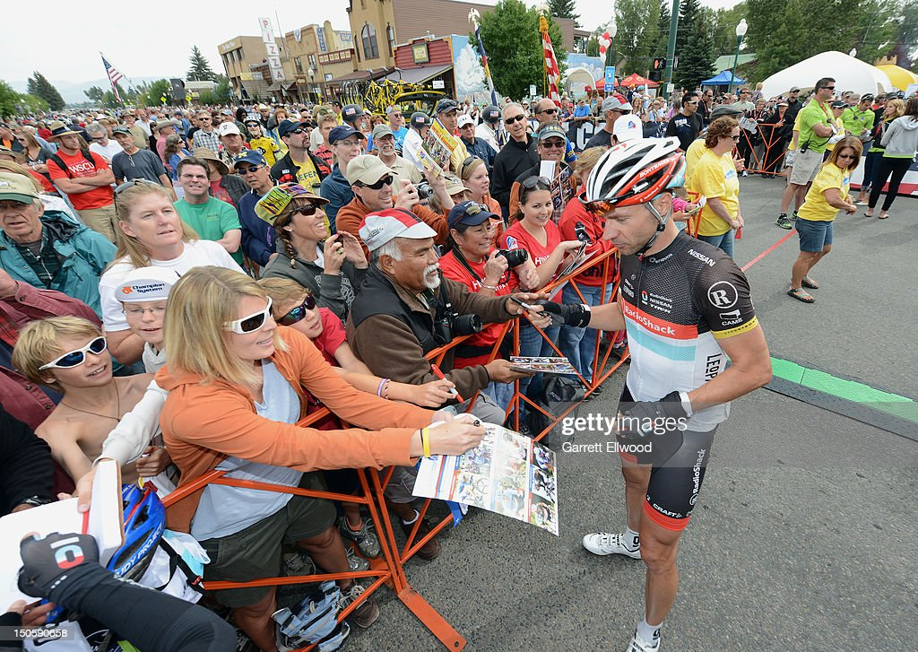 Jens Voigt of Germany riding for RadioShack-Nissan-TREK signs autographs prior to the start of Stage Three of the USA Pro Challenge from Gunnison to Aspen on August 22, 2012 in Gunison, Colorado.
