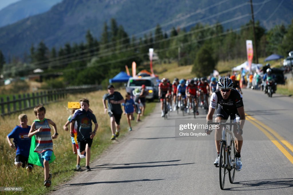 <a gi-track='captionPersonalityLinkClicked' href=/galleries/search?phrase=Jens+Voigt&family=editorial&specificpeople=224836 ng-click='$event.stopPropagation()'>Jens Voigt</a> of Germany riding for Trek Factory Racing attempts to break away from the peloton during stage one of the 2014 USA Pro Challenge on August 18, 2014 in Aspen, Colorado.