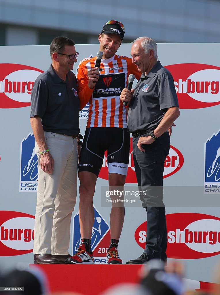 <a gi-track='captionPersonalityLinkClicked' href=/galleries/search?phrase=Jens+Voigt&family=editorial&specificpeople=224836 ng-click='$event.stopPropagation()'>Jens Voigt</a> (C) of Germany riding for Trek Factory Racing has his retirement celebrated by Paul Sherwen (L) and Phil Liggett (R) following stage seven of the 2014 USA Pro Cycling Challenge from Boulder to Denver on August 24, 2014 in Denver, Colorado.