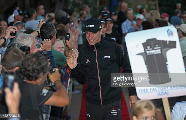 Jens Voigt of Germany riding for Trek Factory Racing leads his team to the stage during team presentations for the 2014 USA Pro Challenge on August...