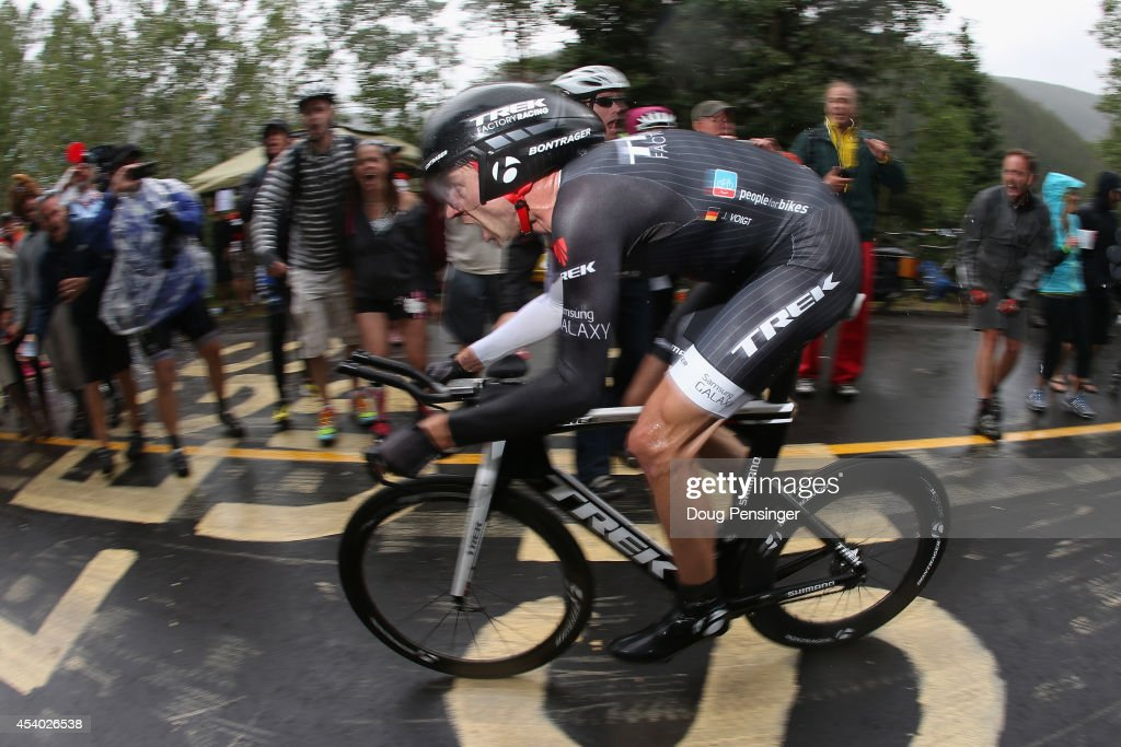 <a gi-track='captionPersonalityLinkClicked' href=/galleries/search?phrase=Jens+Voigt&family=editorial&specificpeople=224836 ng-click='$event.stopPropagation()'>Jens Voigt</a> of Germany riding for Trek Factory Racing races to 18th place in the individual time trial during stage six of the 2014 USA Pro Challenge on August 23, 2014 in Vail, Colorado.