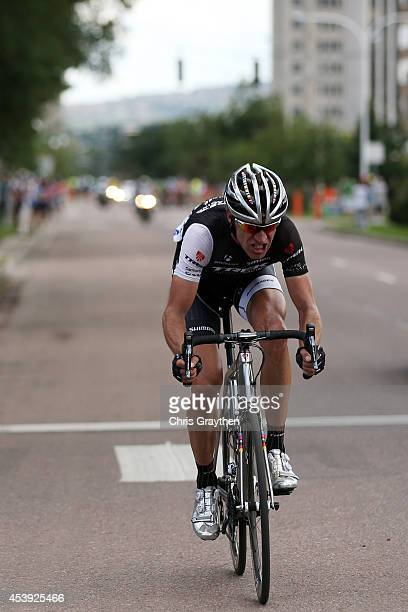 Jens Voigt of Germany riding for Trek Factory Racing rides in front of the peloton during stage four of the 2014 USA Pro Challenge on August 21 2014...