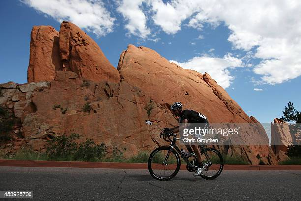 Jens Voigt of Germany riding for Trek Factory Racing rides through the Garden of the Gods Park during stage four of the 2014 USA Pro Challenge on...