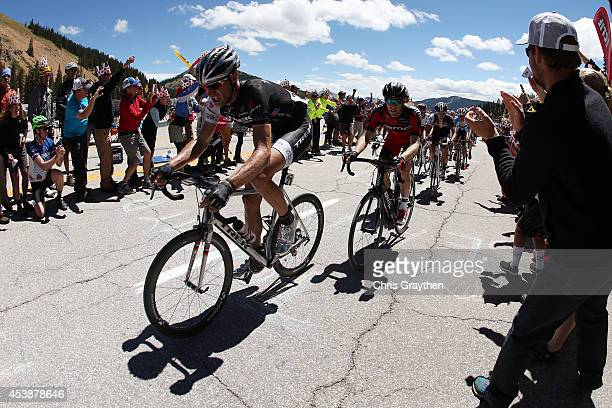Jens Voigt of Germany riding for Trek Factory Racing rides up Monarch Mountain during stage three of the 2014 USA Pro Challenge from Gunnison to...
