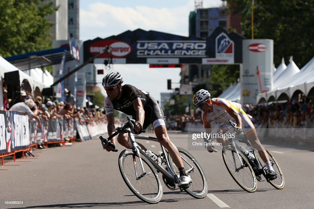 <a gi-track='captionPersonalityLinkClicked' href=/galleries/search?phrase=Jens+Voigt&family=editorial&specificpeople=224836 ng-click='$event.stopPropagation()'>Jens Voigt</a> of Germany riding for Trek Factory Racing rides with Javier Megias Leal of Spain riding for Team Novo Nordisk ride in a breakaway during the final stage of the 2014 USA Pro Challenge from Boulder to Denver on August 24, 2014 in Denver, Colorado.