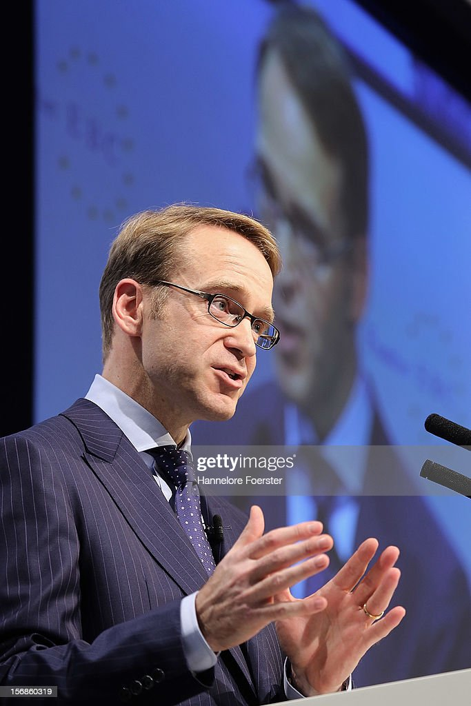 <a gi-track='captionPersonalityLinkClicked' href=/galleries/search?phrase=Jens+Weidmann&family=editorial&specificpeople=6917233 ng-click='$event.stopPropagation()'>Jens Weidmann</a>, president Deutsche Bundesbank, speaks during the European Banking Congress on November 23, 2012 in Frankfurt, Germany. Bankers from across Europe are meeting as Europe continues to struggle with weak economies in the Eurozone and governmens remain locked in disagreement over the European Union 2013 budget.