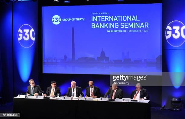 Jens Weidmann president of the Deutsche Bundesbank from left Urjit Patel governor of the Reserve Bank of India Jacob Frenkel chairman of JP Morgan...