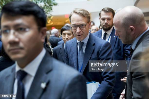 Jens Weidmann president of the Deutsche Bundesbank leaves from a Group of 20 finance ministers and central bank governors meeting on the sidelines of...