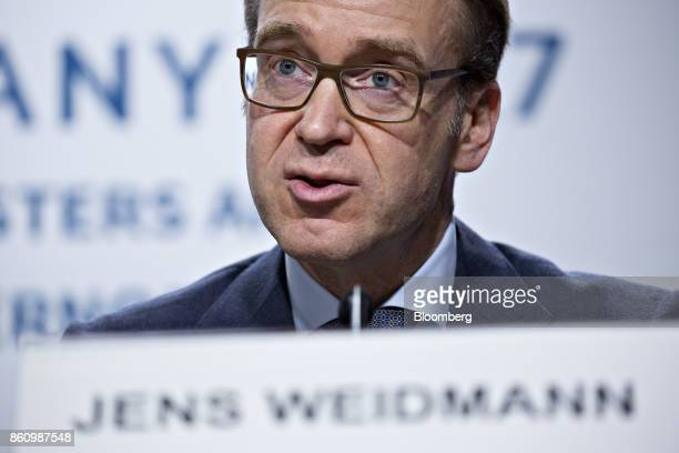 Jens Weidmann president of the Deutsche Bundesbank speaks during a Group of 20 finance ministers and central bank governors news conference on the...