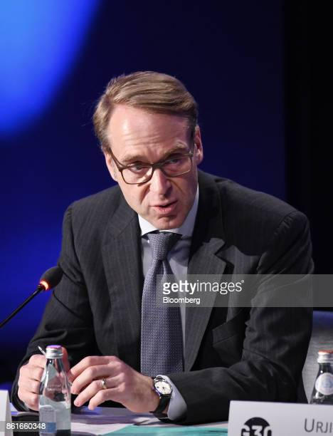Jens Weidmann president of the Deutsche Bundesbank speaks during the Group of Thirty International Banking Seminar in Washington DC US on Sunday Oct...