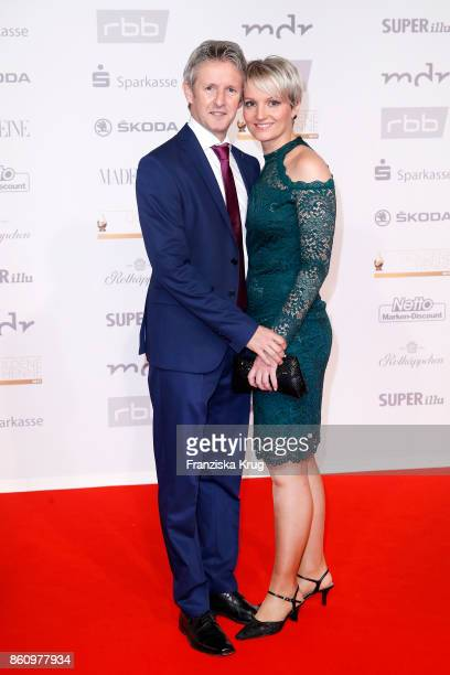 Jens Weissflog and his wife Nicola Weissflog attend the Goldene Henne on October 13 2017 in Leipzig Germany