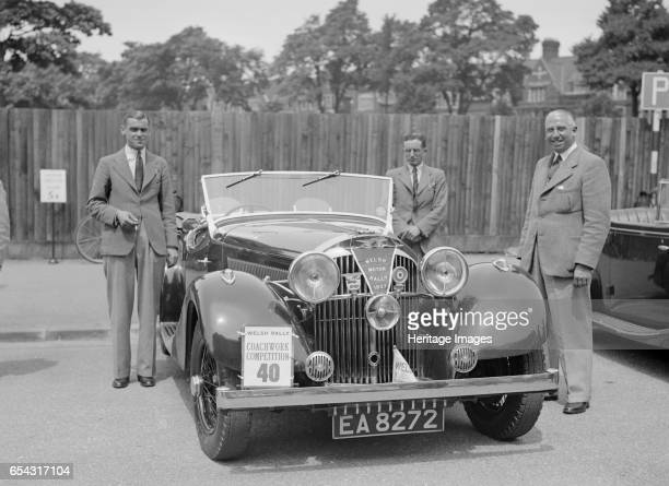 Jensen open 4seater of Ken Crawford at the South Wales Auto Club Welsh Rally 1937 Artist Bill Brunell Jensen Open 4seater 1937 3622 cc Vehicle Reg No...