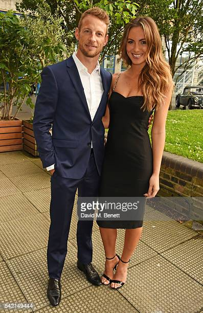 Jenson Button and Brittny Ward attend a private dinner hosted by Michael Kors to celebrate the new Regent Street Flagship store opening at The River...
