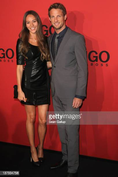 Jenson Button and girlfriend Jessica Michibata arrive at the Hugo by Hugo Boss Autumn/Winter 2012 fashion show during MercedesBenz Fashion Week...